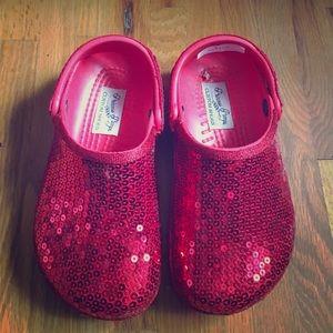 CROCS Other - Crocs Red Sequin Clayman Clogs Shoes