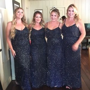 Navy beaded bridesmaid dress