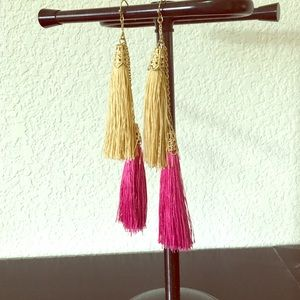 Pink and gold tasseled earrings