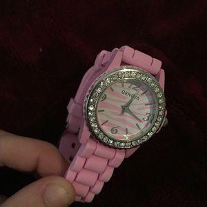 Geneva Platinum Accessories - Geneva Pink Rhinestoned Watch