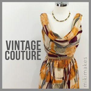 Karen Zambos Dresses & Skirts - KAREN ZAMBOS • silk printed dress cowl neck & back