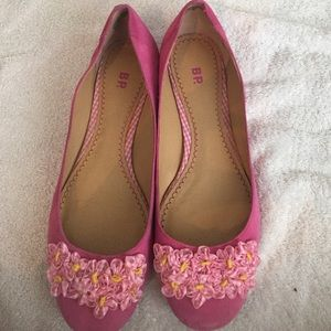 Pink suede BP flower flats size 8