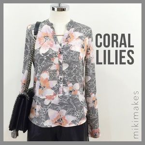 Button down floral and grey lace printed blouse