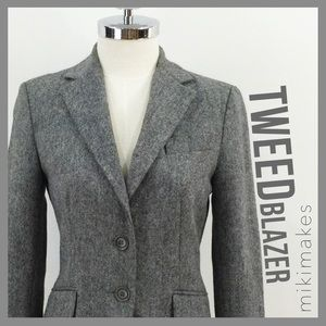 ZARA• tweed cropped blazer single breasted