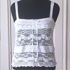 American Eagle Outfitters Tops - American Eagle White Lace Cami Top