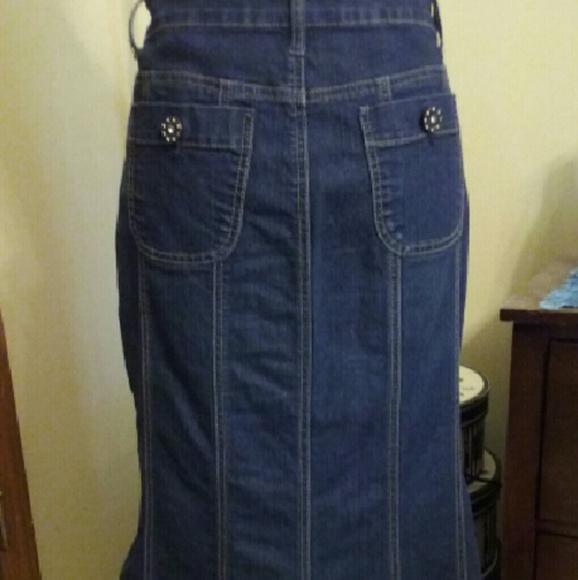 77% off Baccini Dresses & Skirts - Baccini Long Denim Skirt, Size ...