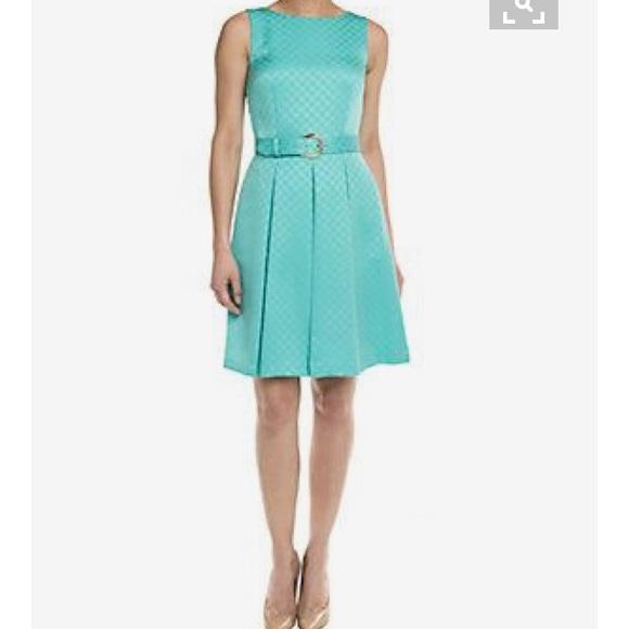 9ab7f64acf9f Tahari Dresses | Taharl By Asl Aqua Box Pleat Fitandflare Dress ...