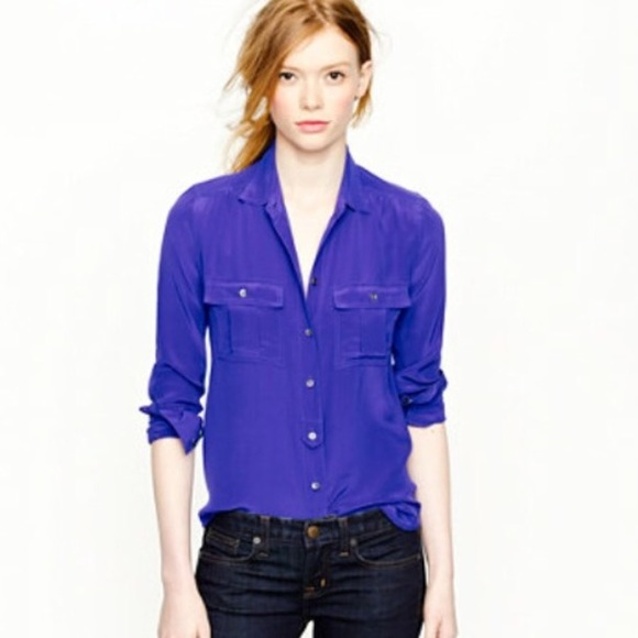 f232d5093 J. Crew Tops | Jcrew Long Sleeve Purple Silk Button Down Blouse ...
