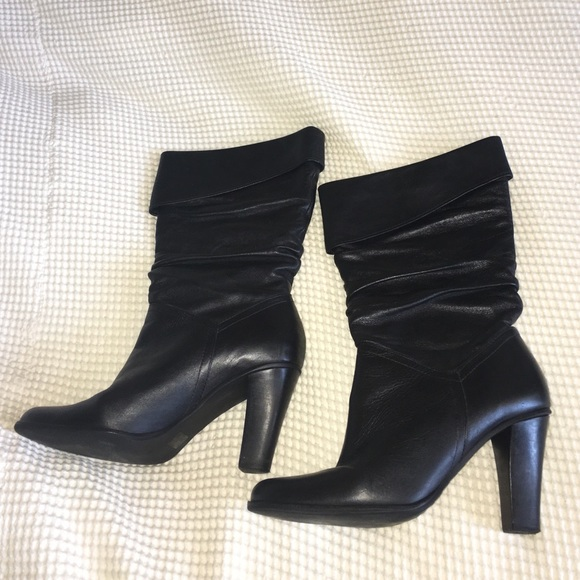 85 shoes black leather heeled slouchy boots from