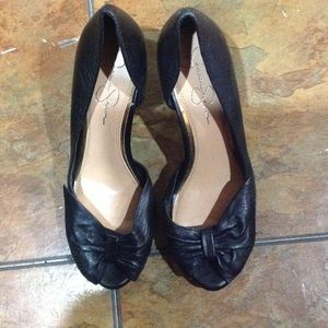 Jessica Simpson Shoes - Jessica Simpson Black Open Toe Bow Heels,Size 7.5
