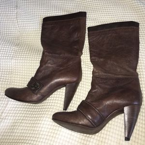 Miss Sixty Shoes - Dark brown all leather mid calf heeled boots