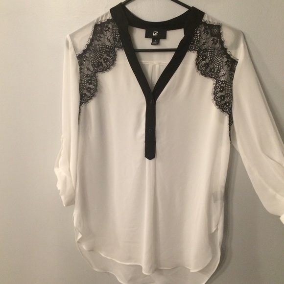 Iz Byer Tops Sheer White Blouse With Black Lace Detail Poshmark