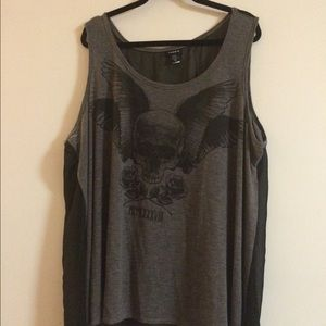 Torrid 3x tank with a sheer back and skulls