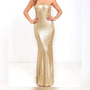 La Femme Dresses & Skirts - Gold sequin dress by la femme, cut out open back