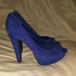 Aldo royal blue suede heels size 6