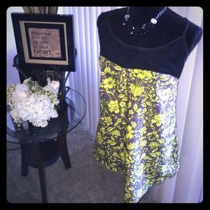 Tops - Neon & Mesh Floral Print Top