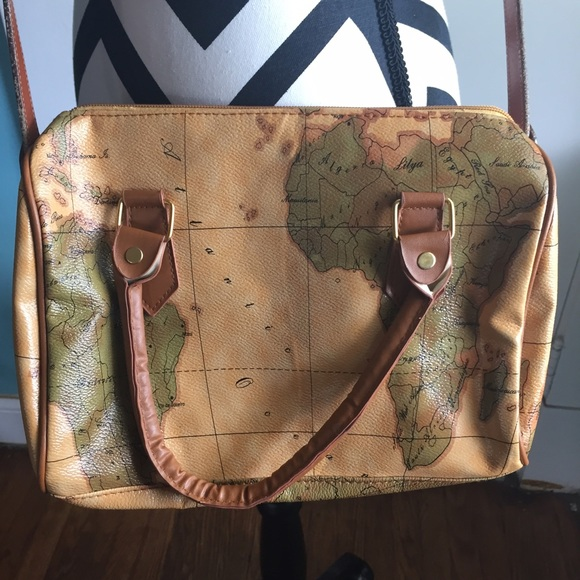 Bags vintage world map cross body purse poshmark vintage world map cross body purse gumiabroncs Images