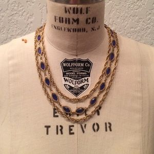Vintage brass and blue multi chained necklace