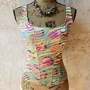 Cosabella Tops - 273) Form fitting tank top, pastel graphics