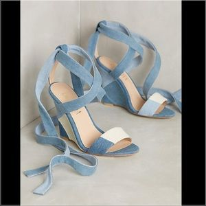 Anthropologie Shoes - Anthropologie Denim Wedges!