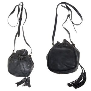 Handbags - Black Fringe Bucket Bag