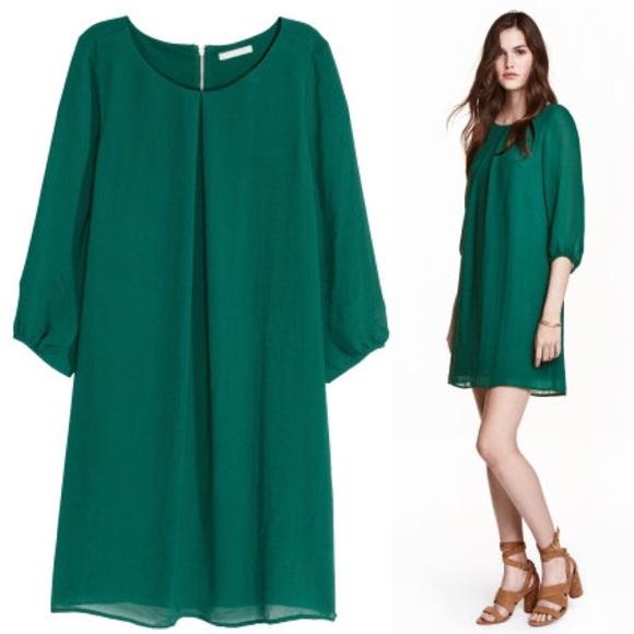 4c269aa0918 H M Dresses   Skirts - H M Chiffon Dress in Dark Green