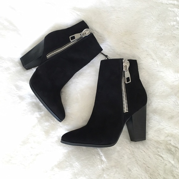 bdef159fc2c7 Express Black Micro Suede Ankle Booties NWOB