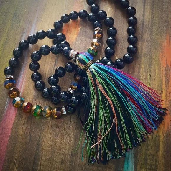 8dd031b7f089fb Jewelry | Black Onyx Czech Glass Bead Tassel Necklace | Poshmark