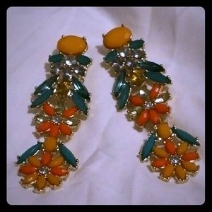 Tropical floral chandelier earing