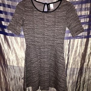 Textured Gray Mini Skater Dress faux leather trim