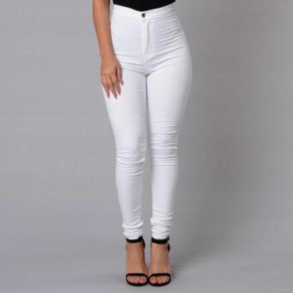Fashion Nova Jeans   White High Waisted Size 3