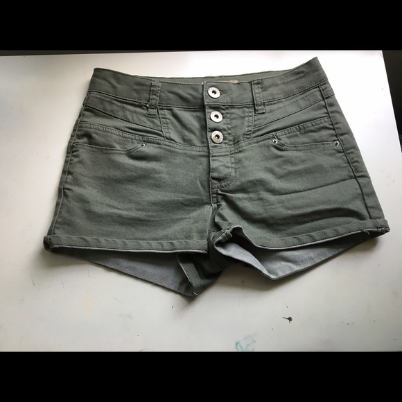 Hollister - Blue Spice Army Green High Waisted shorts from ...
