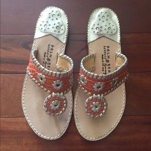Orange and silver Palm Beach sandals