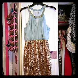 Light Blue & Gold Sequined Xtaren Dress