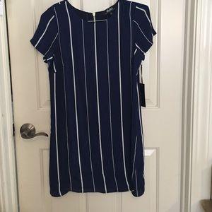 LuLus Navy Striped Shift Dress