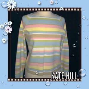 Kate Hill Tops - Pastel Striped Top / Soft Colors / Pullover / Med