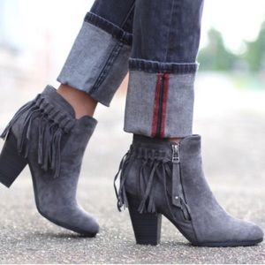 1 HR SALEHello Fall Fringe Bootie - GREY