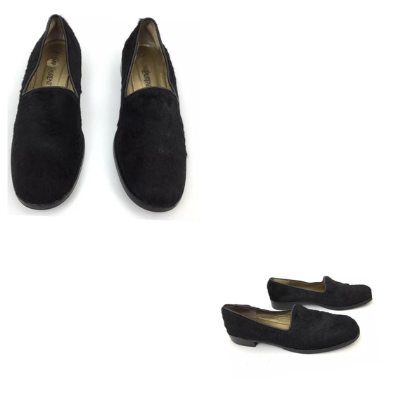 79b77bb5e42 Yves Saint Laurent Shoes | Ysl Calf Hair Black Leather Loafers ...