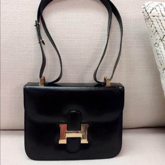 Hermes Bags   Vintage Constance Crossbody Bag Blk Leather   Poshmark 882daf7d85
