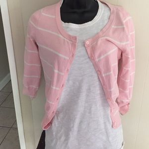 Pink and white striped cardigan!