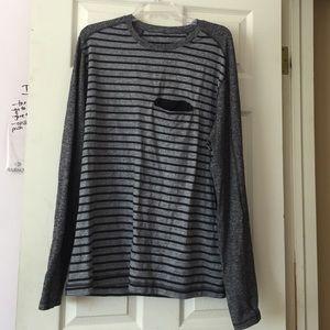 Lululemon Men's Striped Long Sleeve Pocket Tee