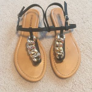 Wild Diva Shoes - GOLD CHAIN SANDALS