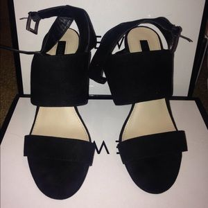 Black sued strap wedges