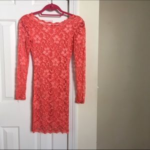Low back coral Arden b lace dress