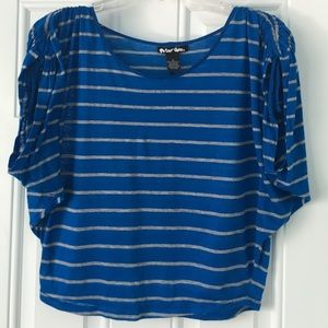 Planet Gold Tops - Striped Blue Crop Top