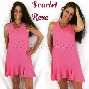 Scarlet Rose Boutique Dresses & Skirts - 🌹Pink Silky Hi-Lo Sleeveless Ruffle Dresses🌹