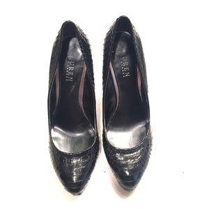Black Reptile Heels by Lauren Ralph Lauren