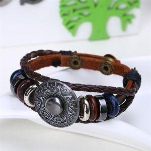 Multilayer Leather Bracelet Geometric Pattern
