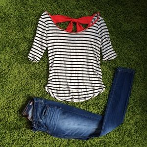 Striped Shirt with Red Bow