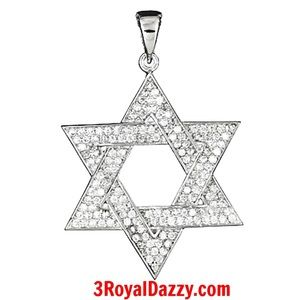 3 Royal Dazzy Other - 925 Sterling Silver CZ Star of David Jewish Charm